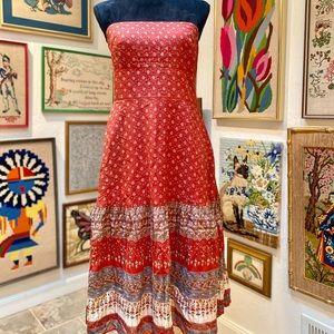 Strapless Prairie Cottage Paisley Midi Silky Dress